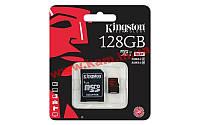 Карта памяти Kingston microSDXC 128GB Class 10 UHS-I U3 R90/ W80MB/ s + SD адаптер 4K (SDCA3/128GB)