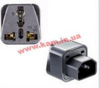 Кабель блока питания IEC-Schuko/ F->C14/ M, адаптер, HQ, черный (62.01.3126-20)