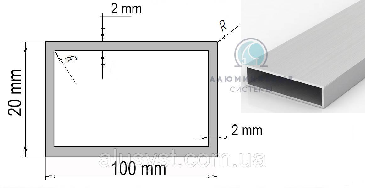 Труба прямоугольная алюминий 100х20х2 анод
