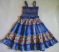 Сарафан детский джинсовый, с салатовыми вставками, на девочку 4-5лет, 110 см