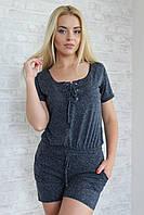 Костюм женский шортами из хлопка - Темно-синий