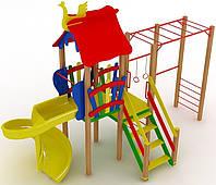 """Детский комплекс Kidigo """"Котик"""" с пластиковой горкой """"Спираль"""" высотой 1,5  м"""