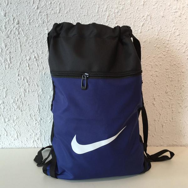 Рюкзак-мешок спортивный для обуви Nike темно-синий с черным (реплика)