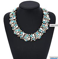 Праздничное ожерелье, колье, для выпускного, свадьбы, торжества, модное ювелирное изделие, цвет - голубой