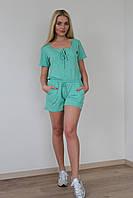 Костюм женский шортами из хлопка - Мятный