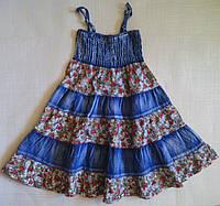 Сарафан детский джинсовый, с салатовыми вставками, р.110 см