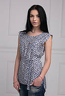 Обаятельная летняя блуза прямого кроя ассиметричная сзади с пояском