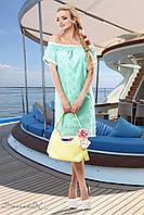 Женское летнее свободное платье с открытыми плечами + большой размер