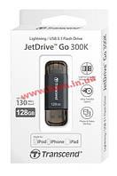 USB накопитель TS128GJDG300K 128Gb JetDrive Go 300, Lightning + USB3.1, Black (TS128GJDG300K)