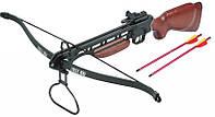 Арбалет рекурсивный: натяжение 19 кг, 2,4 кг, ласточкин хвост, приклад дерево, 2 стрелы