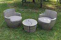 Комплект з штучного ротанга: 2столики + 2 крісла з подушками