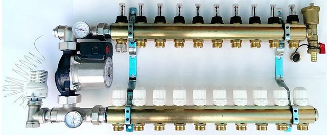 Система теплого пола на 8 контуров WILO RS 25/6 (Германия) без байпаса