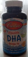 Детский рыбий жир в капсулах, Carlson,  Kids Omega-3 Chewable DHA, Bursting Orange, 120 sgels