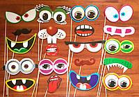 Фотобутафория детская глазки, губки, усы, очки, рожицы  20 предметов