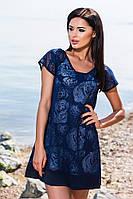 Модное тёмно синее короткое платье свободного кроя. Арт-5684/57
