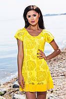 Модное жёлтое короткое платье свободного кроя. Арт-5684/57