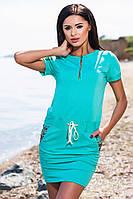Хлопковое бирюзовое платье с карманами и затяжным поясом. Арт-5686/57
