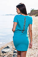 Хлопковое голубое платье с карманами и затяжным поясом. Арт-5686/57