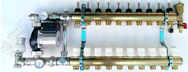 Система теплого пола на 6 контуров WILO RS 25/4 (Германия) с байпасом