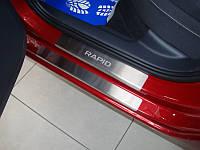 Накладки на пороги skoda Rapid (шкода Рапид), 8 шт. логотип гравировкой, Standart нерж.