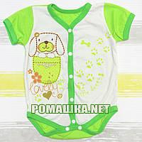 Детский боди-футболка р. 68 ткань КУЛИР-ПИНЬЕ 100% тонкий хлопок ТМ Незабудка 3119 Зеленый