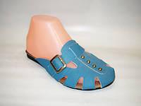 Шлепанцы женские эко-кожа на плоской подошве голубые