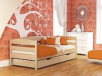 Кровать одноярусная Нота + с ящиками и бортиками массив