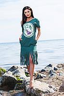 Летнее зелёное платье с принтом и порезанным низом. Арт-5693/57