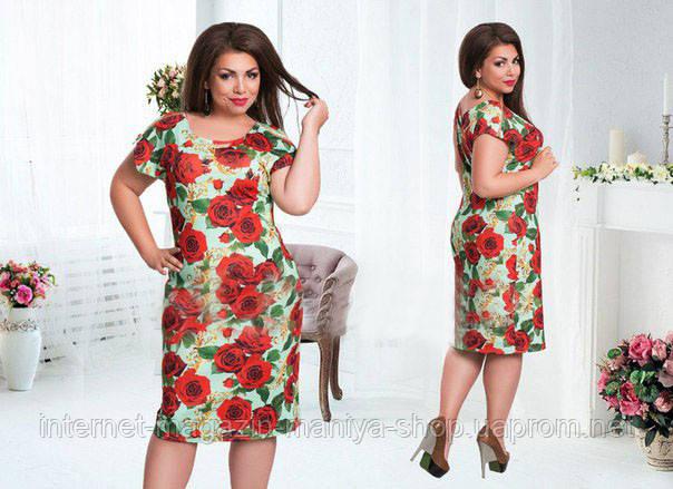 Платье женское батал цветы