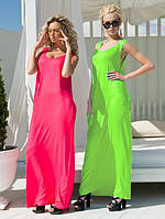 """Длинное летнее платье-майка """"Лето"""" с карманами и пояском (3 цвета)"""