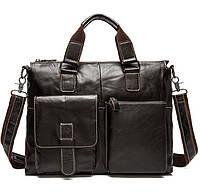 Деловой мужской кожаный портфель для ноутбука, планшета, документов из натуральной кожи
