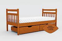 Кровать одноярусная Стандарт с ящиками и бортиками массив