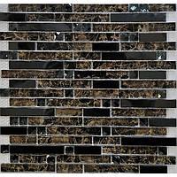Стеклянная мозаика для стен Vivacer L1150 темно коричневая