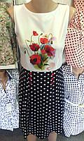 Платье комбинированное в горошек