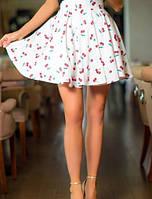 Кокетливая женская юбка с завышенной талией в складку с принтом вишенки и с фатиновым подъюбником коттон