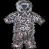 Детский зимний термо комбинезон р. 80: штаны и куртка на флисе и отстегивающейся овчине
