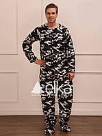 """""""Камуфляж""""- Флисова пижама-комбинезон с футами мужской"""