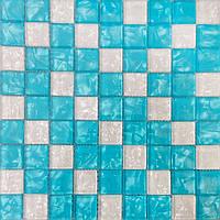 Голубая стеклянная мозаика Vivacer Mix Blue