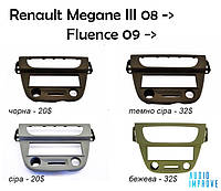 Перехідна рамка 1Din для Renault Megane III 08->,Fluence 09-> 1-DIN