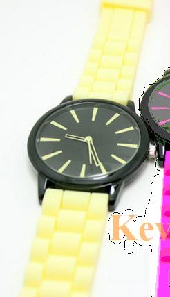 """Женские часы GENEVA Женева часы с силиконовым ремешком """"бежево-черные"""", фото 2"""