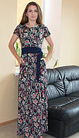 Стильное летнее женское длинное платье огурец синее Турция