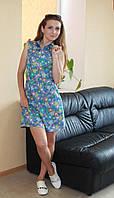 Стильное молодежное летнее платье джинсовое