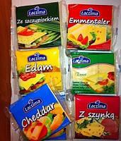 Плавленый тостерный сыр Lactima Gouda 130 г с ветчиной, с зеленью, чеддер, ементаль, едам, салями (8 ломтиков)