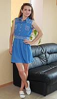 Модное женское летнее платье под джинс комби