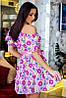 Платье с открытыми плечами, принт, фото 2