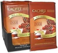 Премиум шоколад Cachet 32% Milk Chocolate Bar with Caramel & Sea Salt с морской солью и карамелью, 300гр. Бельгия
