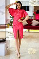 Платье с разрезом и рукавами- крылышками