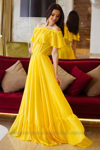 Легкое летнее платье женское  в пол с поясом