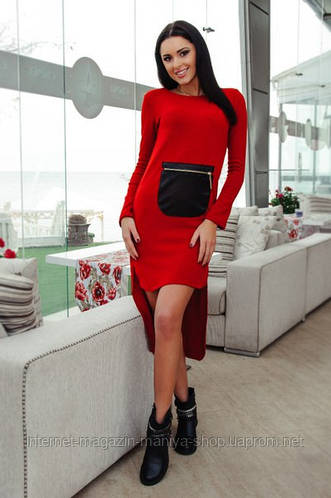 Платье женское асиметрия , карман - эко-кожа