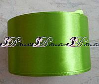 Лента атласная цвет №11(184) (ярко-зеленый горох) шириной 5 см